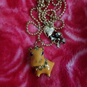 Vintage Betsey Johnson Hippo Necklace